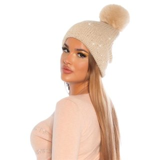Lined womens winter cap hat with sequins and pompom beige