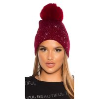 Lined womens winter cap hat with sequins and pompom wine-red