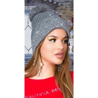 Lined womens winter cap hat with sequins and pompom grey
