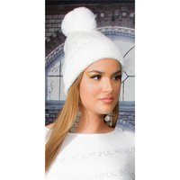 Lined womens winter cap hat with sequins and pompom white