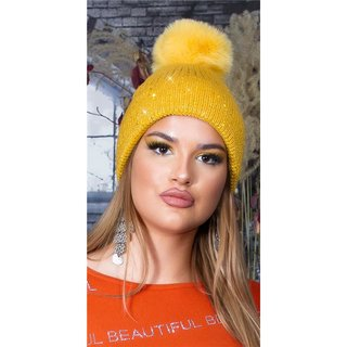 Lined womens winter cap hat with sequins and pompom mustard