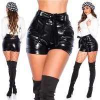 Sexy womens high waist faux leather shorts incl. belt black