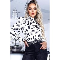 Womens long-sleeved satin blouse with print white/black
