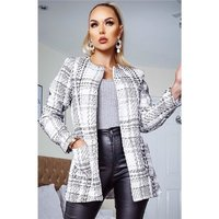 Noble womens bouclé blazer jacket with glitter creme-white