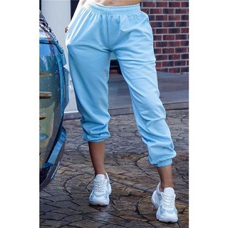 Casual womens loungewear jogger bottoms trackies baby blue