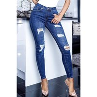 Skinny womens stretch jeans destroyed look dark blue