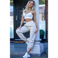 Casual womens loungewear jogger bottoms trackies beige UK...