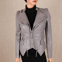 Stylish womens faux leather jacket in biker style grey