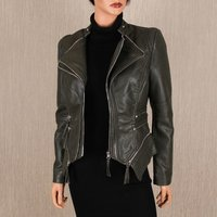 Stylish womens faux leather jacket in biker style khaki