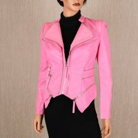 Stylish womens faux leather jacket in biker style pink