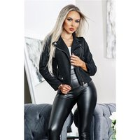 Trendy womens biker jacket in buckskin look black