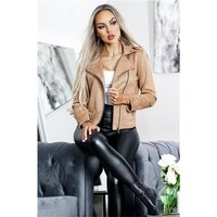 Trendy womens biker jacket in buckskin look tan
