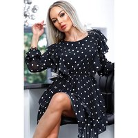 Chiffon dress with flounces and polka-dot pattern black