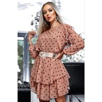 Chiffon dress with flounces and polka-dot pattern cappuccino