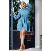 Long-sleeved high neck dress with floret pattern blue