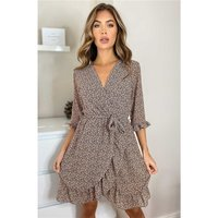 Casual ditsy dress with allover print and frills brown