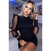 Short ribbed bodycon mini dress with chiffon sleeves black
