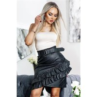 Sexy womens faux leather skirt with flounces black UK 12 (M)