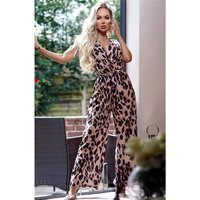 Womens animal print jumpsuit with belt leopard brown...