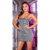 Sexy party strap mini dress with glitter anthracite