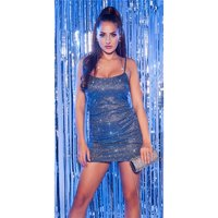 Sexy party strap mini dress with glitter blue