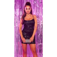 Sexy party strap mini dress with glitter black