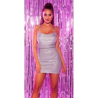 Sexy party strap mini dress with glitter silver