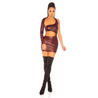 Sexy one-shoulder club mini dress wet look gogo wine-red