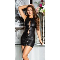 Sexy wet look club mini dress with lacing black