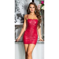 Sexy Wetlook Club Träger-Minikleid mit Raffungen Bordeaux