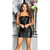 Wet look club strap mini dress with gathers black
