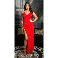 Red carpet look strap party dress with high leg slit red