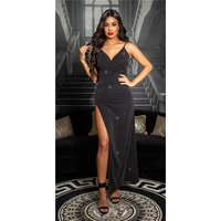 Red carpet look strap party dress with high leg slit black