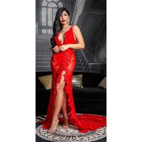 Floor-length gala lace evening dress in red carpet look red