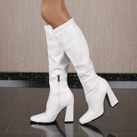 Sexy womens faux leather boots with block heel white