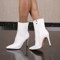 Sexy womens faux leather ankle boots white