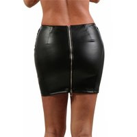 Womens faux leather clubwear mini skirt with zipper black