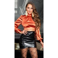 Noble womens long-sleeved satin crop shirt bronze