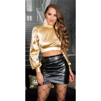 Edles Damen Langarm Crop Shirt aus Satin Gold
