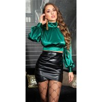 Noble womens long-sleeved satin crop shirt green