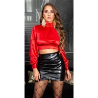 Noble womens long-sleeved satin crop shirt red