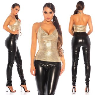 Womens halterneck glitter top in waterfall look gold