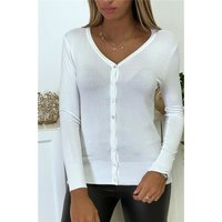 Elegant womens fine knit cardigan jersey jacket white