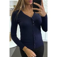 Elegant womens fine knit cardigan jersey jacket navy