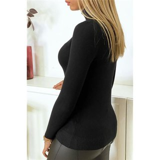 Womens fine-knitted polo-neck sweater black
