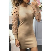Elegant womens fine-knit dress with organza sleeves beige