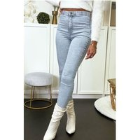 Sexy womens skinny high waist jeans acid wash blue