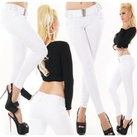 Womens skinny fit jeans incl. belt white