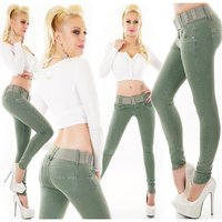 Womens skinny fit jeans incl. belt olive-green