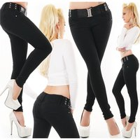 Womens skinny fit jeans incl. belt black UK 10 (S)